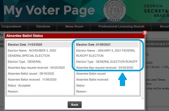 Image shows the January 5, 2021 election and notes that voter has successfully registered to vote in that election.