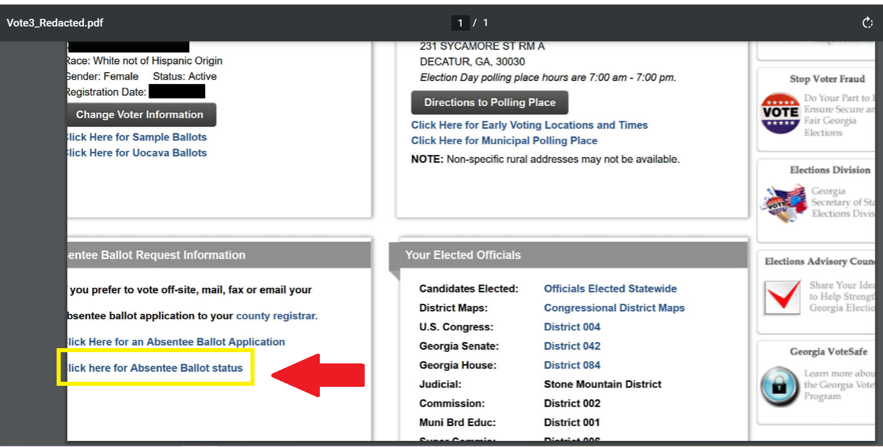 "Image shows link for ""Click here for Absentee Ballot status"""